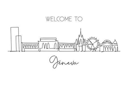 Single continuous line drawing of Geneva city skyline, Switzerland. Famous skyscraper landscape postcard. World travel wall decor poster print concept. Modern one line draw design vector illustration Vektorgrafik