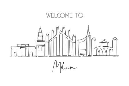 Single continuous line drawing of Milan city skyline, Italy. Famous city skyscraper landscape in world. World travel wall decor poster print concept. Modern one line draw design vector illustration