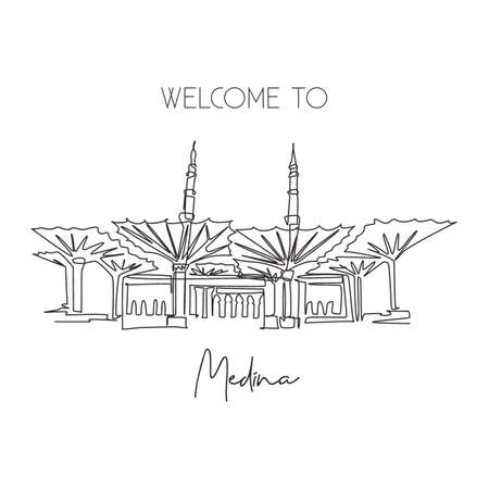 One single line drawing Masjid Al Nabawi landmark. Famous holy iconic in Medina Saudi Arab. Hajj umrah travel wall decor poster print concept. Modern continuous line draw design vector illustration Çizim