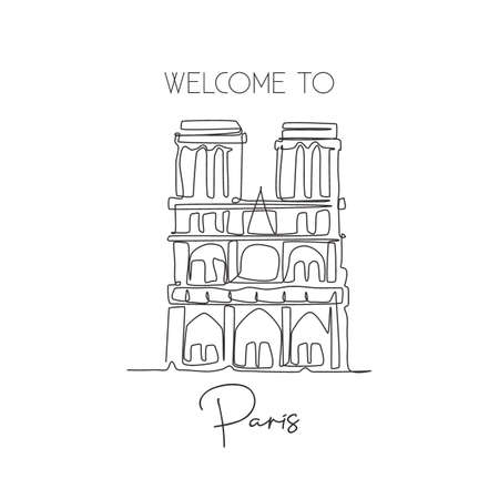 One single line drawing Notre-Dame landmark. World iconic famous place in Paris France. Tourism travel postcard wall home decor poster art print. Modern continuous line draw design vector illustration