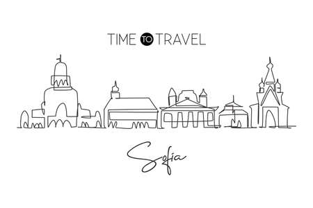 One single line drawing of Sofia city skyline, Bulgaria. Historical town landscape in the world. Best holiday destination poster. Editable stroke trendy continuous line draw design vector illustration Vektorové ilustrace
