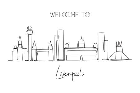 One single line drawing Liverpool city skyline. Historical city skyscraper landscape in world. Best destination home wall decor poster print concept. Continuous line draw design vector illustration