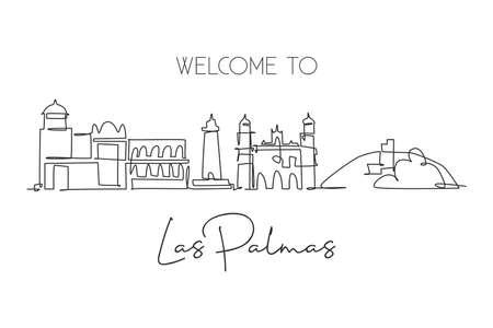 One single line drawing of Las Palmas city skyline Spain. Historical skyscraper landscape in world postcard. Best holiday destination wall decor poster. Continuous line draw design vector illustration Ilustración de vector