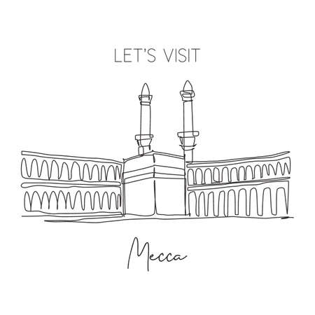 Single continuous line drawing Masjidil Haram landmark. Most holy place in Mecca, Saudi Arabia. Religious hajj and umrah travel wall decor art concept. Dynamic one line draw design vector illustration