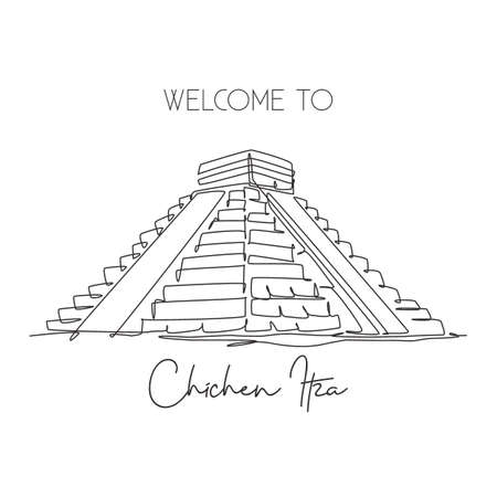 One continuous line drawing Chichen Itza Mayan Pyramid landmark. World iconic place in Yucatan Mexico. Holiday vacation wall decor art poster print concept. Single line draw design vector illustration Çizim