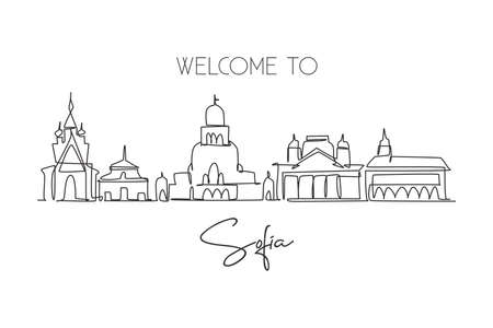 Single continuous line drawing of Sofia city skyline, Bulgaria. Famous city scraper landscape. World travel home wall decor art poster print concept. Modern one line draw design vector illustration