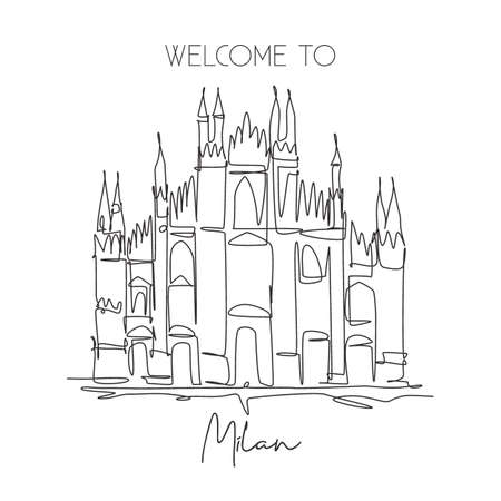 One single line drawing Duomo di Milano landmark. World famous place in Milan, Italy. Tourism travel postcard home wall decor poster concept. Modern continuous line draw design vector illustrationa 矢量图像