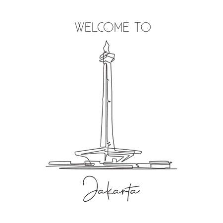 Depok, Indonesia - August 5, 2019: One single line drawing Monas landmark. World iconic famous place in Jakarta, Indonesia. Tourism travel postcard wall decor poster art concept. Vector illustration