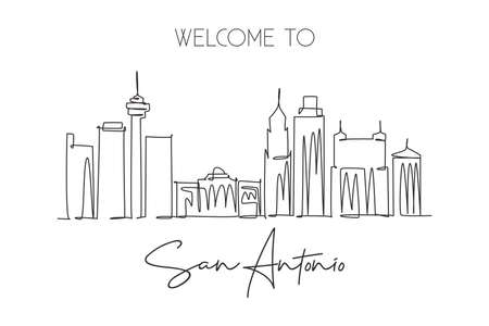 One continuous line drawing of San Antonio city skyline, USA. Beautiful landmark. World landscape tourism travel vacation poster. Editable stylish stroke single line draw design vector illustration
