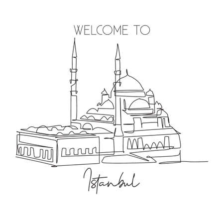 One single line drawing New Mosque landmark. World famous iconic cityscape in Istanbul Turkey. Tourism travel postcard wall decor poster concept. Modern continuous line draw design vector illustration Çizim