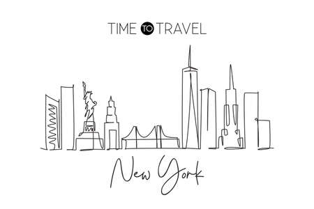 Single continuous line drawing of New York city skyline, USA. Famous city scraper and landscape. World travel concept home wall decor poster print art. Modern one line draw design vector illustration Illustration