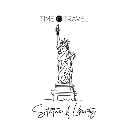Single one line drawing Liberty Statue. Iconic symbol place in New York City USA. Tourism travel postcard and home wall art decor poster concept. Modern continuous line draw design vector illustration