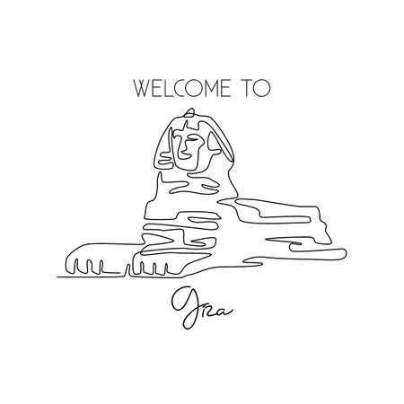 One continuous line drawing of Great Sphinx. Historical tomb iconic place in Giza, Egypt. Holiday vacation home wall decor art poster print concept. Modern single line draw design vector illustration