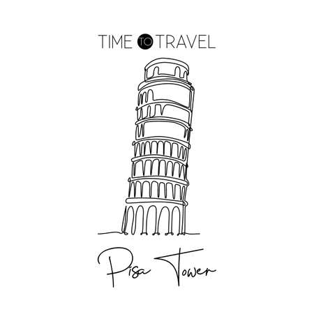 One continuous line drawing of Pisa Tower landmark. Beautiful historical iconic place in Piazza del Duomo. Home wall decor art poster print. Modern single line draw design vector graphic illustration 免版税图像 - 156443016