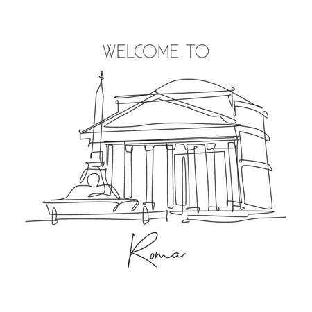 One single line drawing Pantheon landmark. Iconic ancient temple in Rome Italy. Tourism travel postcard home wall decor art poster print concept. Trendy continuous line draw design vector illustration
