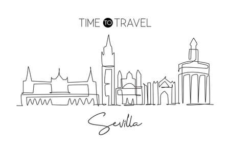 One single line drawing of Sevilla city skyline, Spain. Historical skyscraper landscape in world postcard. Best holiday destination wall decor poster. Continuous line draw design vector illustration