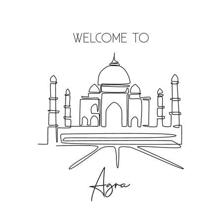 Single one line drawing Taj Mahal mosque. Beauty historical iconic place in Agra, India wall decor poster art. Tourism travel postcard concept. Modern continuous line draw design vector illustration Çizim