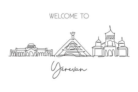 One continuous line drawing of Yerevan city skyline, Armenia. Beautiful landmark. World landscape tourism travel vacation poster. Editable stylish stroke single line draw design vector illustration