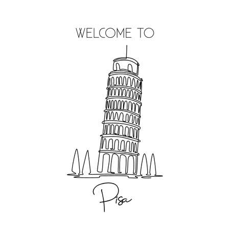 Single one line drawing of lean Pisa Tower. Beautiful historical iconic place in Piazza del Duomo. Postcard and home decor wall art poster print. Modern continuous line draw design vector illustration