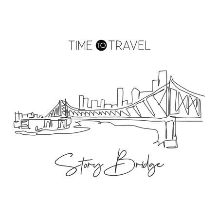 One single line drawing Story Bridge landmark. World famous iconic in Brisbane. Tourism travel postcard home wall decor poster print art concept. Modern continuous line draw design vector illustration