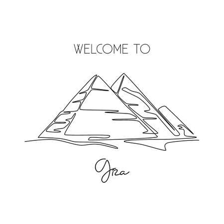 Single one line drawing Pyramid. Beauty historical iconic place in Giza, Egypt. Tourism and travel postcard and home decor wall art poster print. Modern continuous line draw design vector illustration Çizim