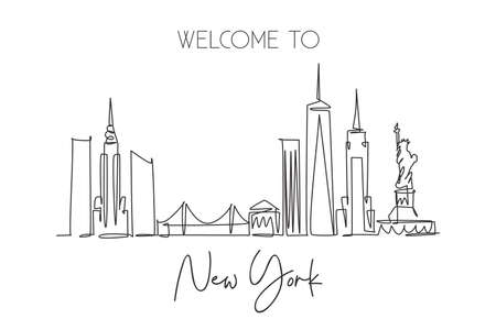 One continuous line drawing of New York city skyline, United States of America. Beautiful city landmark. World landscape vacation. Editable stylish stroke single line draw design vector illustration