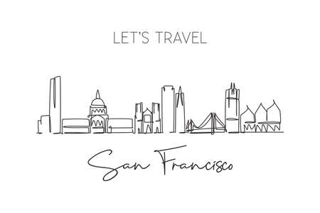 One single line drawing of San Francisco city skyline, USA. Historical town landscape in the world. Best holiday destination poster wall decor. Trendy continuous line draw design vector illustration