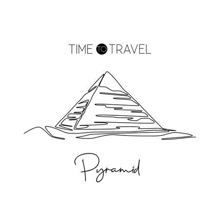One continuous line drawing Pyramid landmark. Historical tomb iconic place in Giza, Egypt. Holiday vacation home wall decor art poster print concept. Modern single line draw design vector illustration