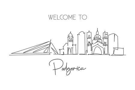 One continuous line drawing of Podgorica city skyline, Montenegro. Beautiful landmark. World landscape tourism travel wall decor poster print art. Stylish single line draw design vector illustration 矢量图像