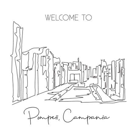 One continuous line drawing Pompeii classical Roman city landmark. Historical skyline at Naples, Italy. Holiday vacation wall decor poster concept. Trendy single line draw design vector illustration