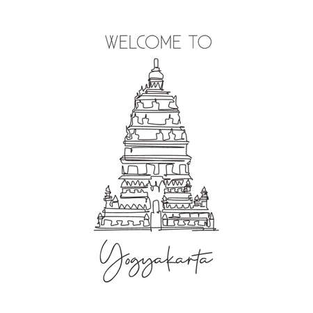 One continuous line drawing Prambanan Temple landmark. World iconic place in Jogjakarta, Indonesia. Holiday vacation wall decor poster print concept. Modern single line draw design vector illustration