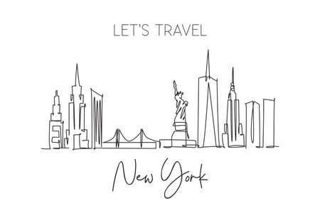 One single line drawing New York city skyline United States. Historical town landscape in world. Best holiday destination poster. Editable stroke trendy continuous line draw design vector illustration Illustration