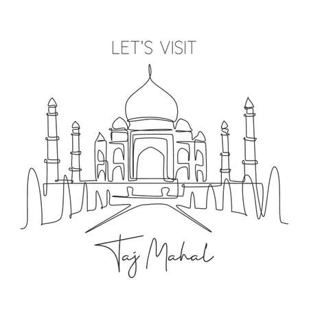 One single line drawing Taj Mahal mosque landmark. World iconic place in Agra, India. Tourism travel postcard wall decor home art poster concept. Modern continuous line draw design vector illustration