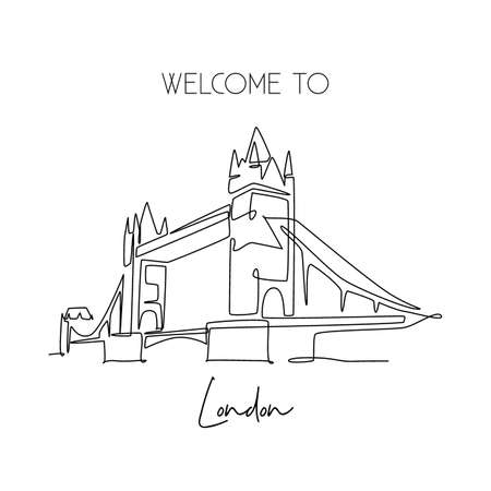 Single continuous line drawing Tower Bridge landmark. Iconic beauty place in London, United Kingdom. World travel home decor wall art poster print concept. One line draw design vector illustration Çizim