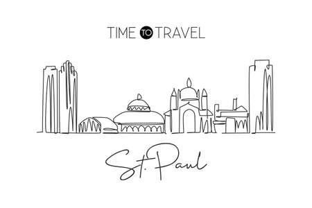 One continuous line drawing Saint Paul city skyline, Minnesota. Beautiful landmark. World landscape tourism travel vacation poster. Editable stylish stroke single line draw design vector illustration 矢量图像