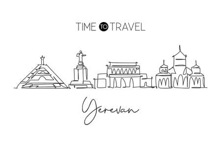Single continuous line drawing of Yerevan city skyline, Armenia. Famous city scraper and landscape. World travel concept home wall decor poster print. Modern one line draw design vector illustration