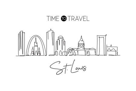 One continuous line drawing of St. Louis city skyline, USA. Beautiful landmark. World landscape tourism travel vacation wall decor art poster print. Stylish single line draw design vector illustration