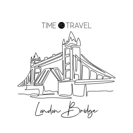 Single one line drawing Tower Bridge landmark. Historical iconic place in London, UK. Tourism and travel postcard home wall decor art concept. Modern continuous line draw design vector illustration
