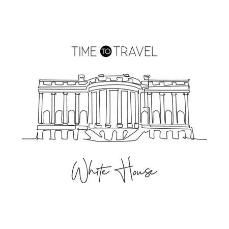One continuous line drawing White House landmark. World iconic place in Washington DC, USA. Wall decor home art poster print and postcard concept. Modern single line draw design vector illustration