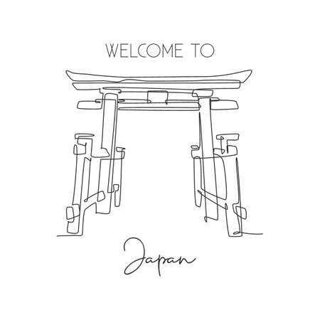 One continuous line drawing Torii Gate landmark greeting. World iconic element in Japanese culture. Holiday vacation wall decor poster print concept. Modern single line draw design vector illustration