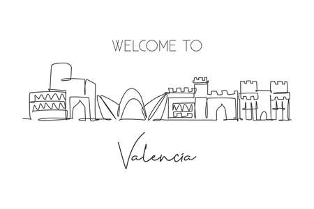 Single continuous line drawing of Valencia city skyline, Spain. Famous skyscraper and landscape postcard. World travel wall decor poster print concept. Modern one line draw design vector illustration