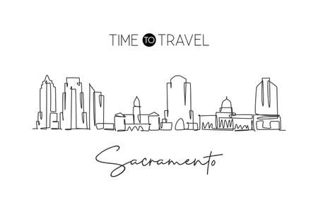 Single continuous line drawing of Sacramento city skyline, California. Famous city landscape. World travel concept home wall decor poster print art. Modern one line draw design vector illustration Illustration