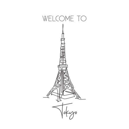 Depok, Indonesia - August 1, 2019: Single continuous line drawing Tokyo Tower landmark. Beauty iconic place in Tokyo, Japan. World travel home wall decor art poster print concept. Vector illustration