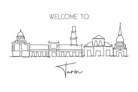 One continuous line drawing of Turin city skyline, Italy. Beautiful skyscraper. World landscape tourism travel vacation concept wall decor poster. Stylish single line draw design vector illustration