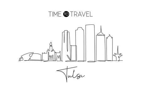 One continuous line drawing of Tulsa city skyline, Oklahoma. Beautiful landmark. World landscape tourism travel vacation poster art. Editable stylish stroke single line draw design vector illustration Иллюстрация