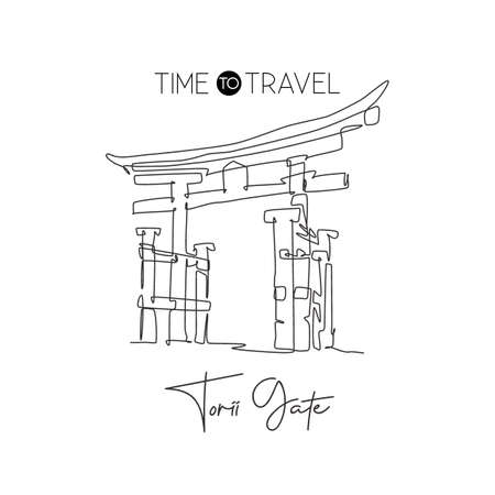 One single line drawing Torii Gate landmark. World famous iconic marks in Japan culture. Tourism travel postcard wall decor poster print concept. Modern continuous line draw design vector illustration
