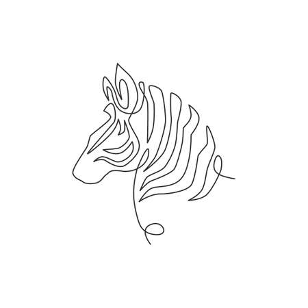 Single continuous line drawing of elegant zebra head for company logo identity. Horse with stripes mammal animal concept for national park safari zoo mascot. Trendy one line draw design illustration 向量圖像
