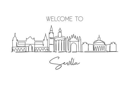 One continuous line drawing of Sevilla city skyline, Spain. Beautiful skyscraper. World landscape tourism travel vacation wall decor poster concept. Stylish single line draw design vector illustration