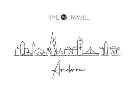 One continuous line drawing of Andorra la Vella city skyline. Beautiful landmark postcard. World landscape tourism travel vacation. Editable stylish stroke single line draw design vector illustration