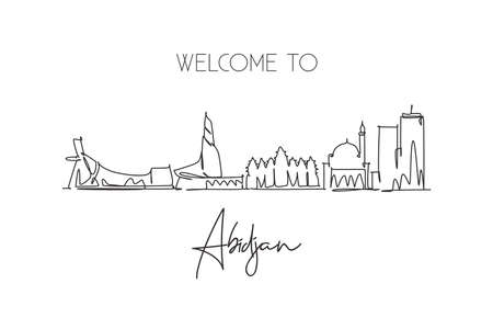 Single continuous line drawing of Abidjan city skyline, Ivory Coast. Famous city scraper landscape home wall decor poster print. World travel concept. Modern one line draw design vector illustration